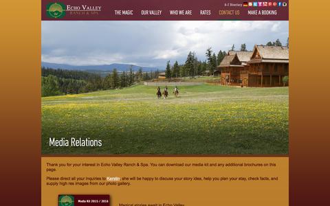 Screenshot of Press Page evranch.com - Media Relations - captured Jan. 25, 2016