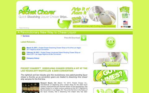 Screenshot of Press Page pocketchaser.com - Pocket Chaser - Liquor Chaser & Flavor Enhancer - Dissolving Chaser Strips - Lime, Orange & Lemon Flavors - captured Oct. 27, 2014
