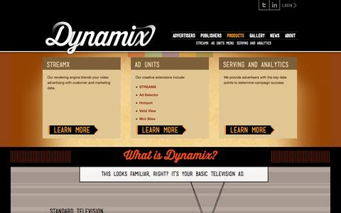 Screenshot of Products Page dynamix.tv - Products «  Dynamix - captured Sept. 15, 2014