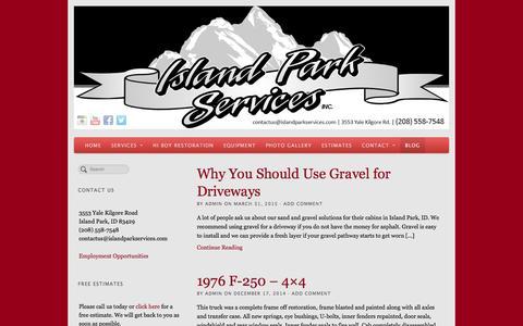 Screenshot of Blog islandparkservices.com - Island Park Services Blog - captured Jan. 9, 2016