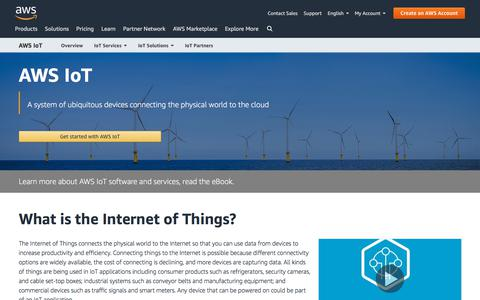 Screenshot of Landing Page amazon.com - IoT Applications & Solutions | What is the Internet of Things (IoT)? | AWS - captured Sept. 21, 2018
