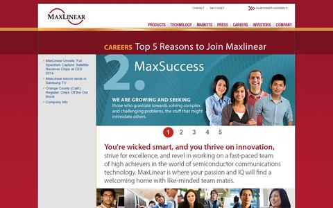Screenshot of Jobs Page maxlinear.com - Careers | Maxlinear - captured July 20, 2014