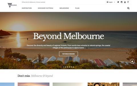 Screenshot of Home Page visitmelbourne.com - Melbourne, Australia - visitmelbourne.com - Official travel and accommodation site - captured Jan. 14, 2016