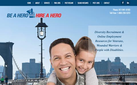 Screenshot of Home Page beahero-hireahero.com - Home | Be A Hero - Hire a Hero | Veteran Employment | Military Employment | - captured May 31, 2017