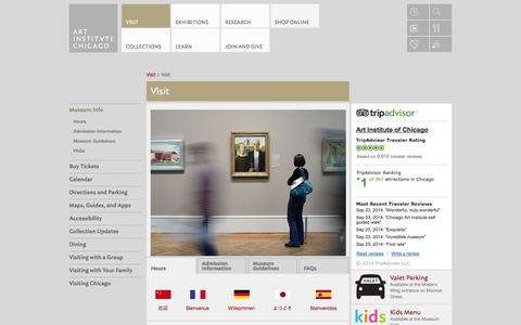 Screenshot of Hours Page artic.edu - Visit | The Art Institute of Chicago - captured Sept. 24, 2014