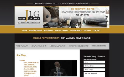 Screenshot of Site Map Page janofflaw.com - Site Map | Janoff Law Group | San Jose, California - captured Oct. 6, 2014