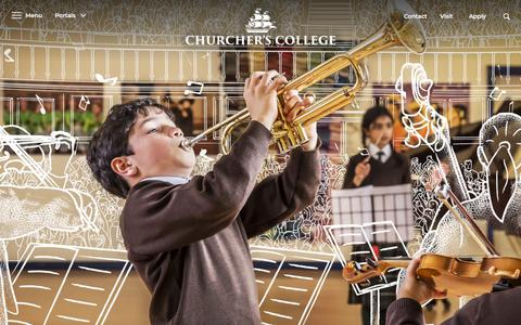 Screenshot of Home Page churcherscollege.com - Welcome to Churchers College - captured July 17, 2018