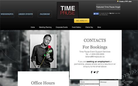 Screenshot of Contact Page timepause.ca - CONTACT - captured Dec. 2, 2016