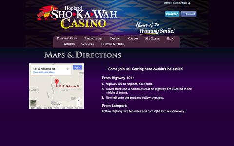 Screenshot of Maps & Directions Page shokawah.com - Hopland Sho-Ka-Wah Casino : Maps &Directions - captured Oct. 3, 2014