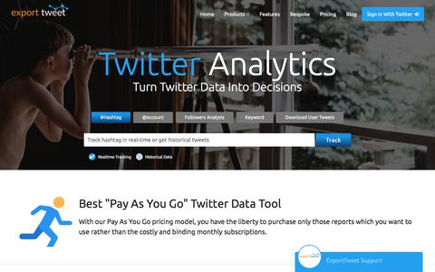 Screenshot of Home Page exporttweet.com - Twitter Analytics and Hashtag Tracking by ExportTweet - captured Jan. 31, 2018