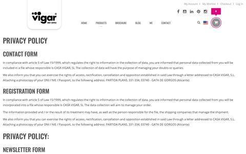 Screenshot of Privacy Page vigar.com - Privacy - captured Nov. 25, 2018