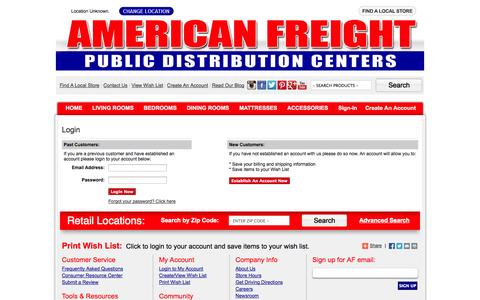 Screenshot of Login Page americanfreight.us - American Freight - captured Sept. 25, 2014