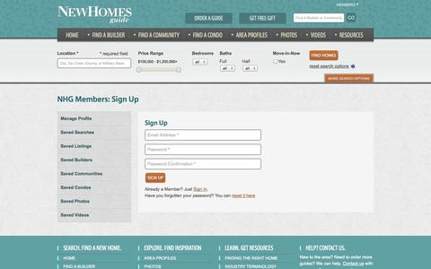 Screenshot of Signup Page newhomesguide.com - New Homes Guide Member Section - captured Oct. 26, 2014