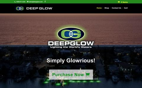 Screenshot of Home Page deepglow.com - Home - Deep Glow Underwater Lighting - captured Oct. 8, 2018