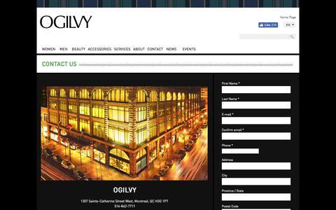 Screenshot of Contact Page Hours Page ogilvycanada.com - La Maison OGILVY   Contact us - captured Sept. 25, 2018