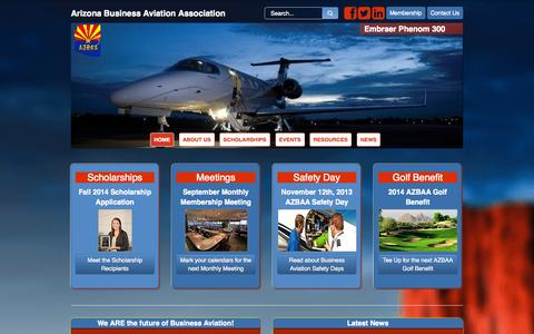 Screenshot of Home Page About Page azbaa.org - Arizona Business Aviation Association - captured Oct. 4, 2014