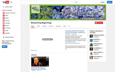 Screenshot of YouTube Page youtube.com - Blossoming Beginnings  - YouTube - captured Nov. 3, 2014