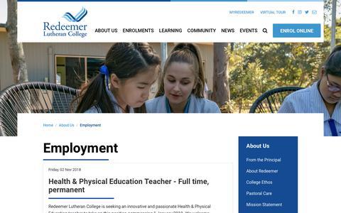 Screenshot of Jobs Page redeemer.com.au - Employment | Redeemer Lutheran College - captured Nov. 18, 2018