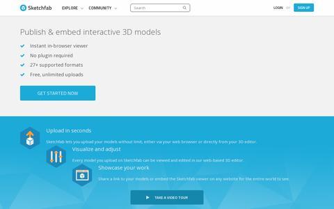 Screenshot of Home Page sketchfab.com - Sketchfab - The web platform for publishing your interactive 3D models - captured July 11, 2014