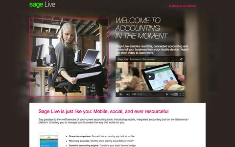 Screenshot of Landing Page sage.com - Welcome to accounting in the moment. - captured Feb. 11, 2016