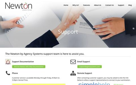 Screenshot of Support Page agencysystems.com - Agency Systems Support - Newton by Agency Systems - captured Dec. 6, 2016