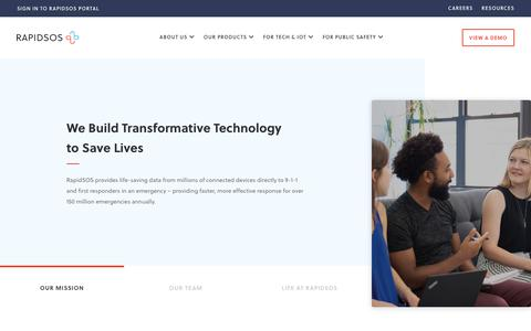 Screenshot of About Page rapidsos.com - About - Learn About Our Life-Saving Mission at RapidSOS - captured Nov. 6, 2019