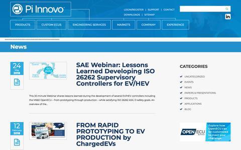 """Screenshot of Press Page pi-innovo.com - Category Archive for """"News""""   Pi Innovo - captured Nov. 4, 2018"""
