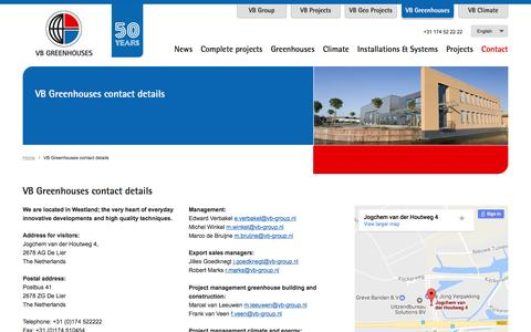 Screenshot of Contact Page vb-group.nl - VB Greenhouses contact details - captured Dec. 12, 2016