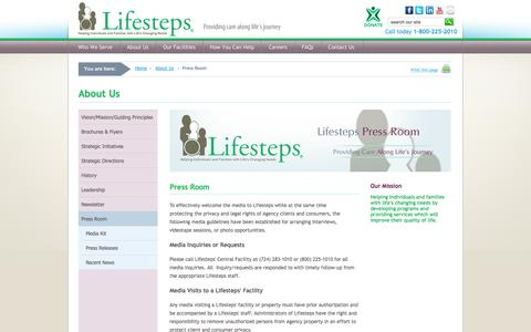 Screenshot of Press Page lifesteps.net - Lifesteps - Press Room - captured Oct. 2, 2014