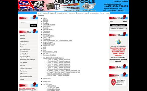 Screenshot of Site Map Page abbotstools.co.uk - Sitemap - captured Sept. 30, 2014