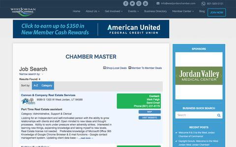 Screenshot of Jobs Page westjordanchamber.com - Job Search - – West Jordan Chamber of Commerce - captured Feb. 8, 2018