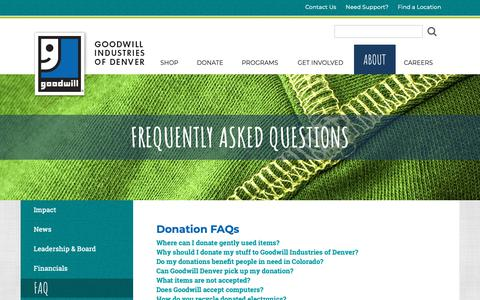 Screenshot of FAQ Page goodwilldenver.org - FAQ About Donations & Shopping at Goodwill of Denver - captured Nov. 8, 2018