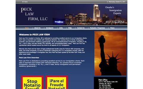 Screenshot of Home Page Site Map Page pecklawfirm.com - Omaha Immigration Attorney Peck Law Firm - captured Oct. 2, 2014