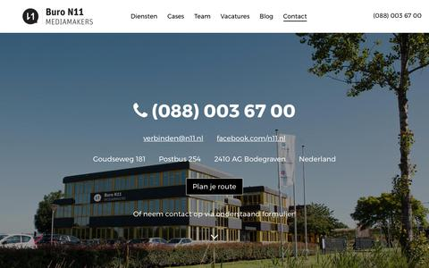 Screenshot of Contact Page n11.nl - Neem contact met ons op - Buro N11 - captured Oct. 11, 2017
