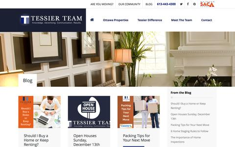 Screenshot of Blog tessierteam.ca - The Tessier Team Has Lots to Blog About Real Estate - captured Jan. 11, 2016