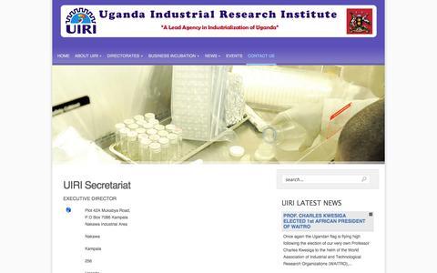 Screenshot of Contact Page uiri.org - UIRI Secretariat - captured Oct. 4, 2014