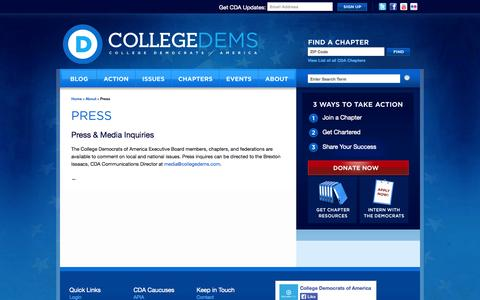 Screenshot of Press Page collegedems.com - Press «  College Democrats of America - captured Oct. 8, 2014