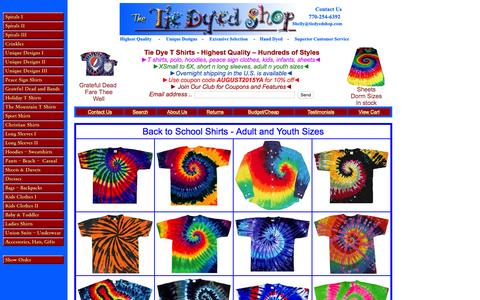 Screenshot of Home Page tiedyedshop.com - Tie dye shirts, hoodies, bedding, t-shirts, clothing, dresses - Tiedyedshop - captured Aug. 4, 2015