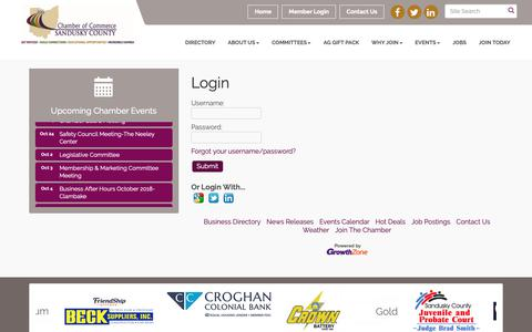 Screenshot of Login Page scchamber.org - Login - Chamber of Commerce of Sandusky County , OH - captured Sept. 27, 2018