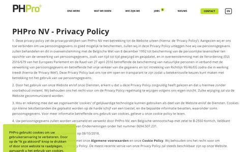 Screenshot of Privacy Page phpro.be - PHPro - Privacybeleid Nederlands - captured Sept. 28, 2019