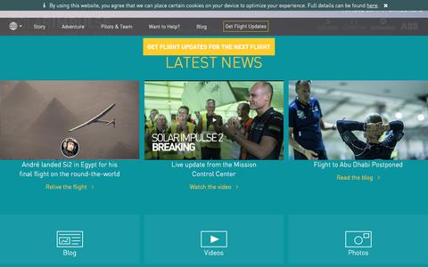 Screenshot of Home Page solarimpulse.com - Solar Impulse Clean Technologies to Fly Around the World - captured July 20, 2016