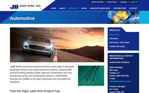 Screenshot of Products Page juddwire.com - Automotive   Judd Wire Inc. - captured Oct. 16, 2017