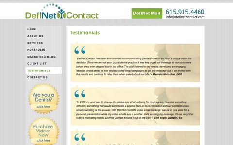 Screenshot of Testimonials Page definetcontact.com - Testimonials - captured Sept. 30, 2014