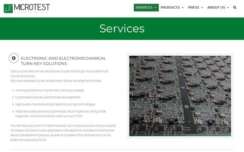 Screenshot of Services Page microtest.net - MIcrotest Srl | Solutions, Services, Testing | Lucca, Italy - captured Oct. 18, 2018