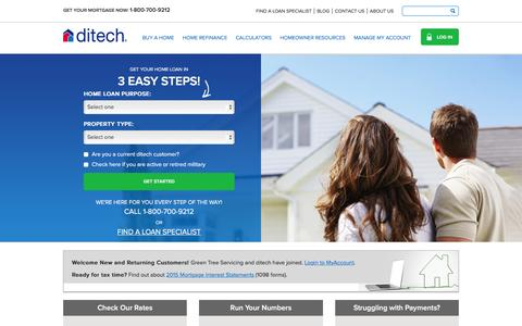 Screenshot of Home Page ditech.com - Home Loans| Mortgage Refinance Specialists | ditech - captured Jan. 15, 2016