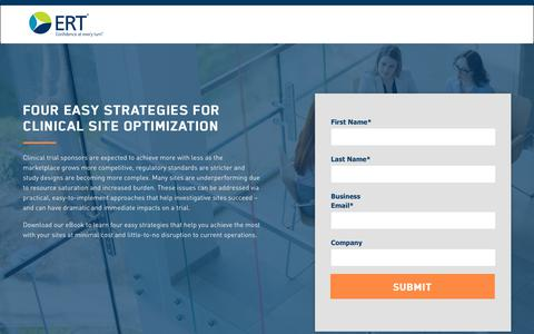 Screenshot of Landing Page ert.com - eBook: Four Easy Strategies for Site Optimization - captured March 14, 2018