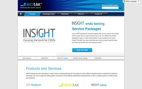 Screenshot of Products Page biotak.net - Products And Services - BIOtAK - captured Nov. 21, 2016