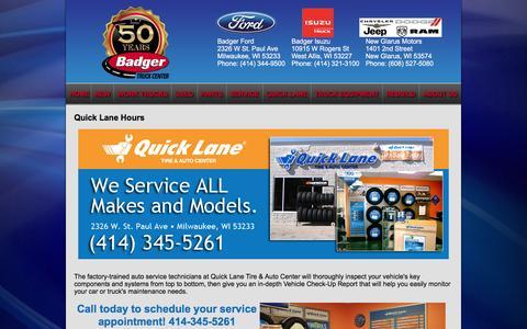 Screenshot of Hours Page badgertruck.com - Quick Lane Hours - captured Nov. 22, 2016