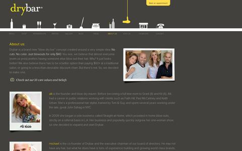 Screenshot of About Page thedrybar.com - About Us - Meet Alli Webb and The Team at  Drybar - captured July 19, 2014