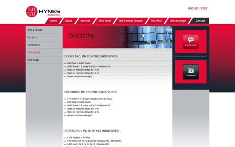Screenshot of Maps & Directions Page hynesindustries.com - Directions | Hynes Industries - captured July 19, 2016